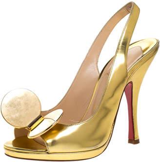 Christian Louboutin Metallic Gold Leather Madame Mouse Peep Toe Slingback Sandals Size 37