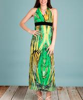 Green & Yellow Abstract Line Halter Maxi Dress