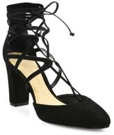 Schutz Arya Strappy Nubuck Lace-Up Pumps