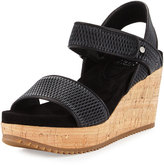 Eileen Fisher Demo Mesh-Leather Wedge Sandal, Black