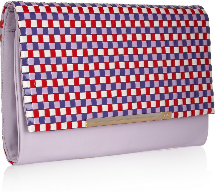 Diane von Furstenberg Adele checked-weave PVC and leather clutch