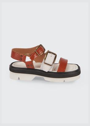 Dries Van Noten Animal-Print Buckle Flatform Sandals