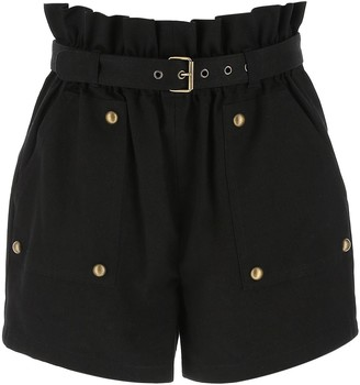 Saint Laurent Belted Pleated Waist Shorts