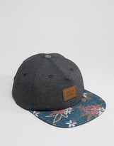 Billabong Snapback In Black With Floral Peak