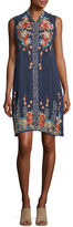 Johnny Was Basille Georgette Embroidered Tunic Dress