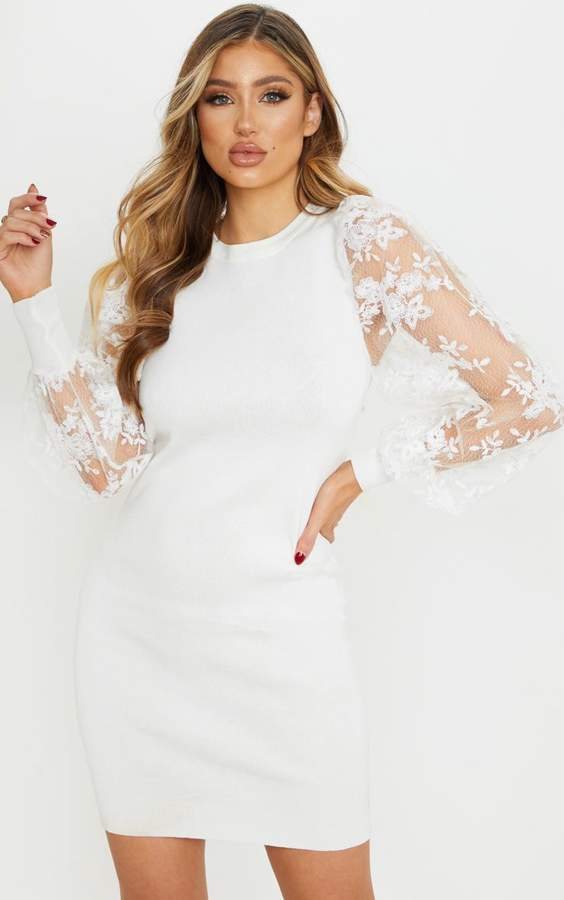 PrettyLittleThing White Embroidered Mesh Sleeve Knitted Dress