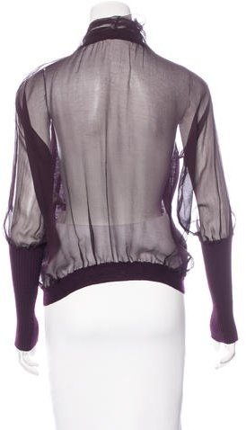 Nina Ricci Virgin Wool Silk-Trimmed Cardigan w/ Tags