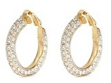 Kenneth Jay Lane Glass crystal pavé gold plated hoop clip earrings
