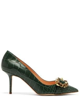 Rupert Sanderson Solitaire Point Toe Crocodile Effect Leather Pumps - Womens - Dark Green