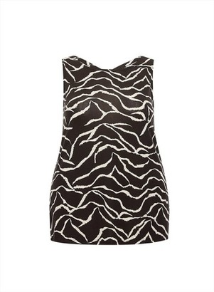 Dorothy Perkins Womens Dp Curve Black And White Zebra Print Jersey Vest, Black