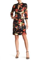 Alexia Admor 3/4 Sleeve Length Floral Plunge Dress