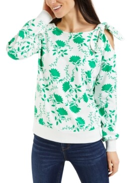 Charter Club Shadow-Floral Cold-Shoulder Top, Created for Macy's