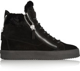Giuseppe Zanotti May London Shearling-lined Suede High-top Sneakers - Black