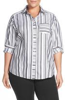 Foxcroft Stripe No-Iron Cotton Shirt (Plus Size)