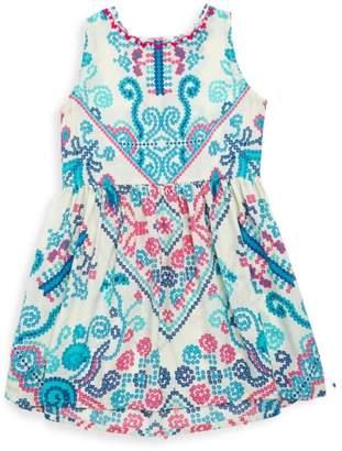 HEMANT AND NANDITA Little Girl's & Girl's Printed Silk Dress
