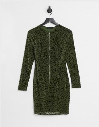 NaaNaa Shape zip front bodycon dress in khaki animal