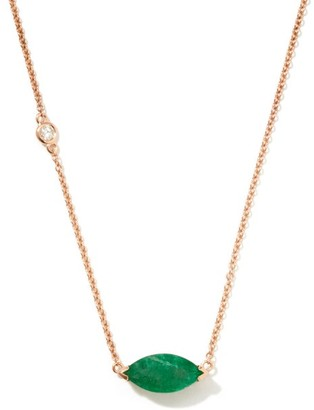 Shay Diamond, Emerald & 18kt Rose-gold Pendant Necklace - Green Gold