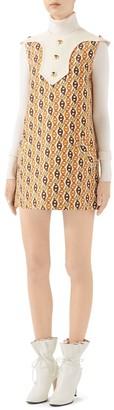 Gucci Wool & Silk Sleeveless Chains Mini Dress