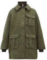 Ganni High-neck Boucle Wool-blend Coat - Womens - Khaki