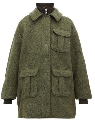Ganni High-neck Boucle Wool-blend Coat - Womens - Khaki