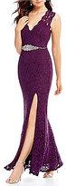 Jodi Kristopher Scalloped Glitter Lace Long Dress