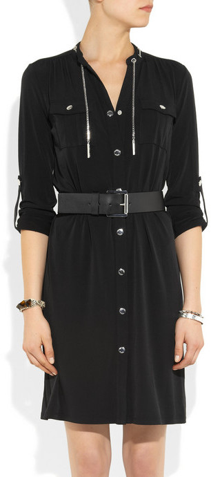 MICHAEL Michael Kors Chain-trimmed belted stretch-jersey dress