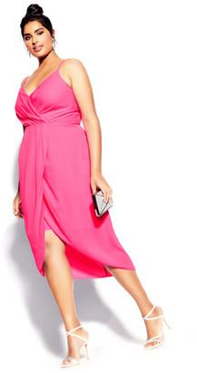 City Chic Sassy Affair Dress - neon pink