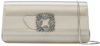Manolo Blahnik Gothisi satin jewel buckle clutch