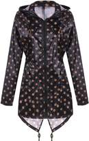 Meaneor Women's Long Sleeve Fishtail Dot Print Cute Raincoat Waterproof Jacket Black and White XXL