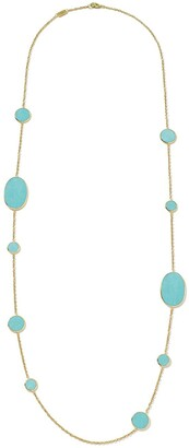 Ippolita 18kt yellow gold Polished Rock Candy Multi Shape turquoise station necklace
