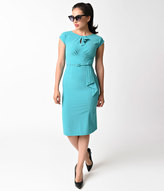 Stop Staring 1940s Style Aqua Cap Sleeve Timeless Wiggle Dress