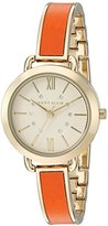 Anne Klein Women's AK/2436ORGB Swarovski Crystal Accented Gold-Tone and Orange Bangle Watch