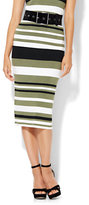 New York & Co. Knit Sweater Pencil Skirt - Olive Green Stripe