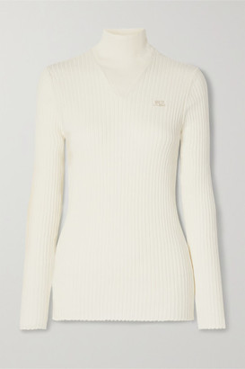 Courreges Embroidered Ribbed Cotton Turtleneck Sweater - Off-white