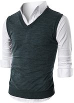 Ohoo Mens Slim Fit Casual V-Neck Knit Vest/DCV010-XL