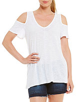 Vince Camuto Two by Cotton Slub Cold Shoulder Tee