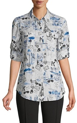 Karl Lagerfeld Paris Sketch-Print Long-Sleeve Shirt