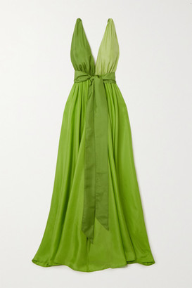 Kalita Adonis Belted Silk Maxi Dress - Leaf green