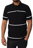 French Connection Men's Muscari Stretch Polo, Black/White Wide Stripe