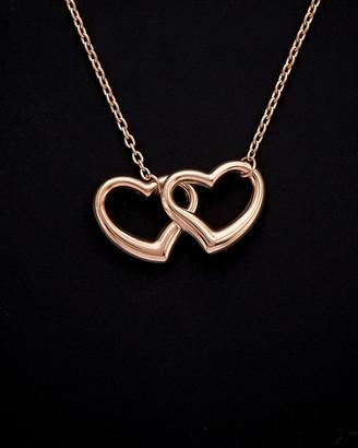 14K Italian Rose Gold Double Heart Necklace