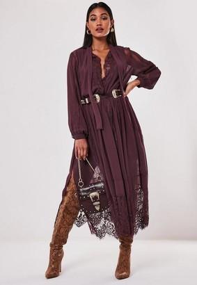 Missguided Burgundy Chiffon Lace Trim Midi Dress