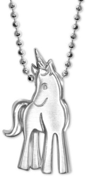 "Alex Woo Diamond Accent Unicorn 16"" Pendant Necklace in Sterling Silver"