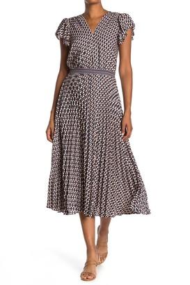 Max Studio Flutter Sleeve Pleated Midi Dress