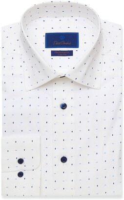 David Donahue Trim Fit Performance Dot Dress Shirt