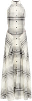 Thumbnail for your product : Roland Mouret Cutout Checked Wool-crepe Maxi Dress