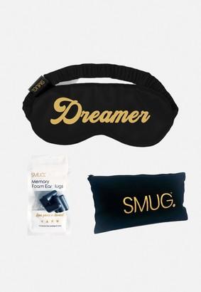 Missguided Smug Black Dreamer Silk Sleep Mask Earplugs And Storage Bag Set
