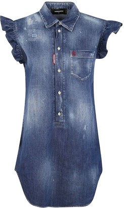 DSQUARED2 Short Ruffled Sleeveless Denim Dress
