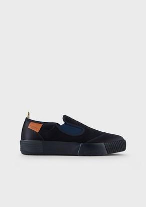 Giorgio Armani Nylon Slip-Ons With Leather Details
