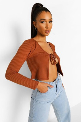 boohoo Rib Tie Detail Crop Top