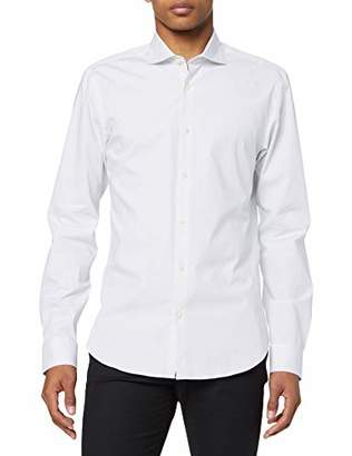 Scotch & Soda Men's Nos Cotton Elastane Shirt Slim Fit Cut Away Collar Casual (White 00), Medium